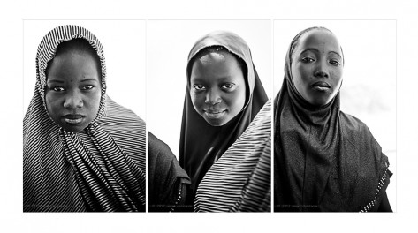 three girls from Niger b&w portrait